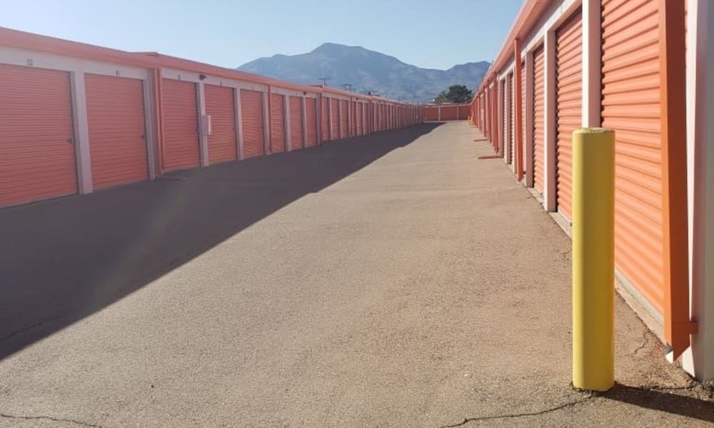 Drive-up storage units available for rent at Armadillo Self Storage in El Paso, Texas