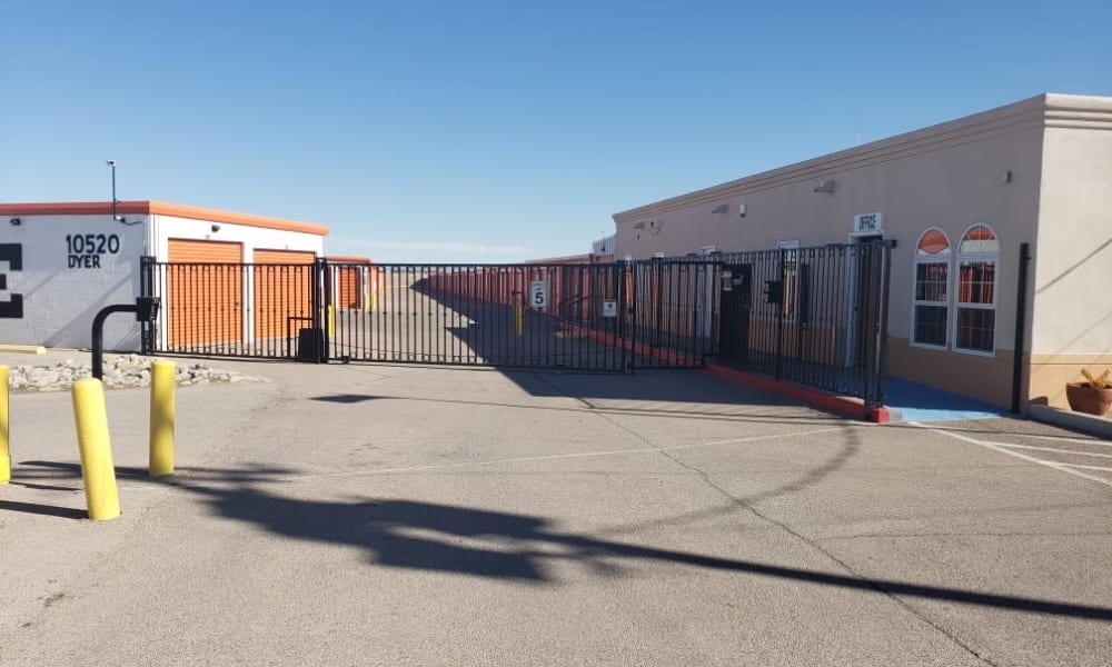 The secure, gated entrance at Armadillo Self Storage in El Paso, Texas