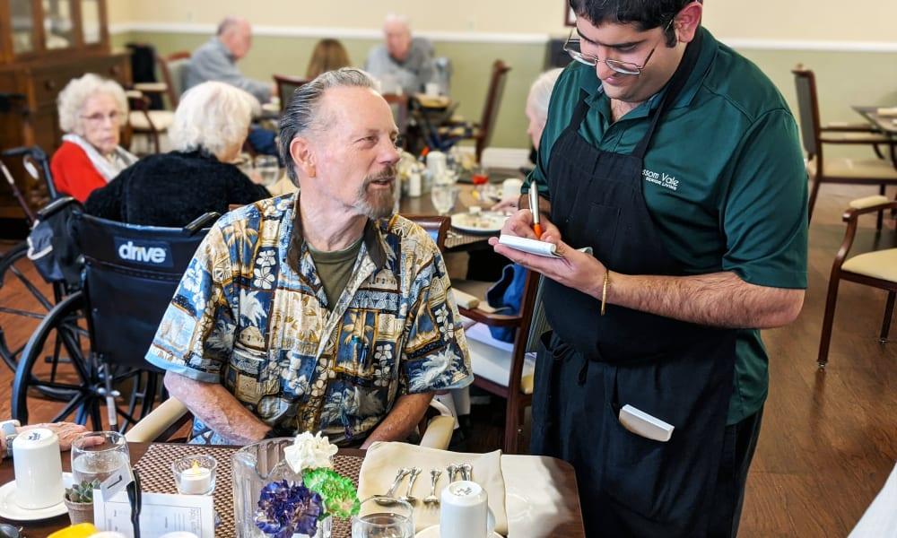 Ordering food at Blossom Vale Senior Living in Orangevale, California
