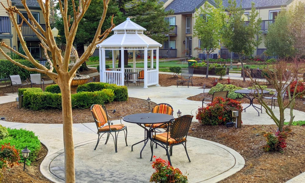 Outdoor seating area at Blossom Vale Senior Living in Orangevale, California