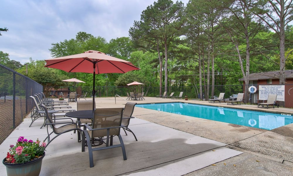 A gated community pool at Carriage House Apartments in Smyrna, Georgia