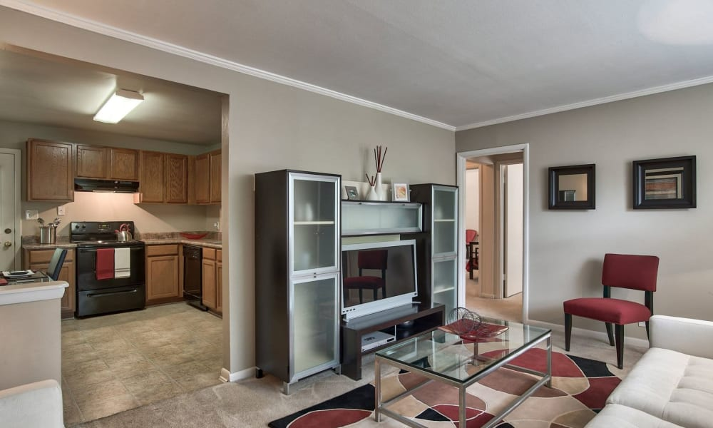 A furnished apartment living room at Carriage House Apartments in Smyrna, Georgia