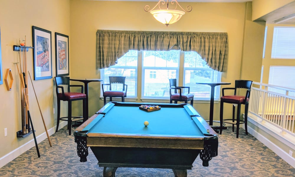 Pool table at Timber Pointe Senior Living in Springfield, Oregon