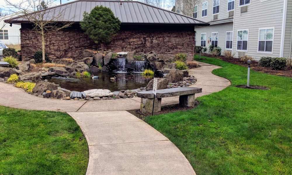 Walkway at Timber Pointe Senior Living in Springfield, Oregon