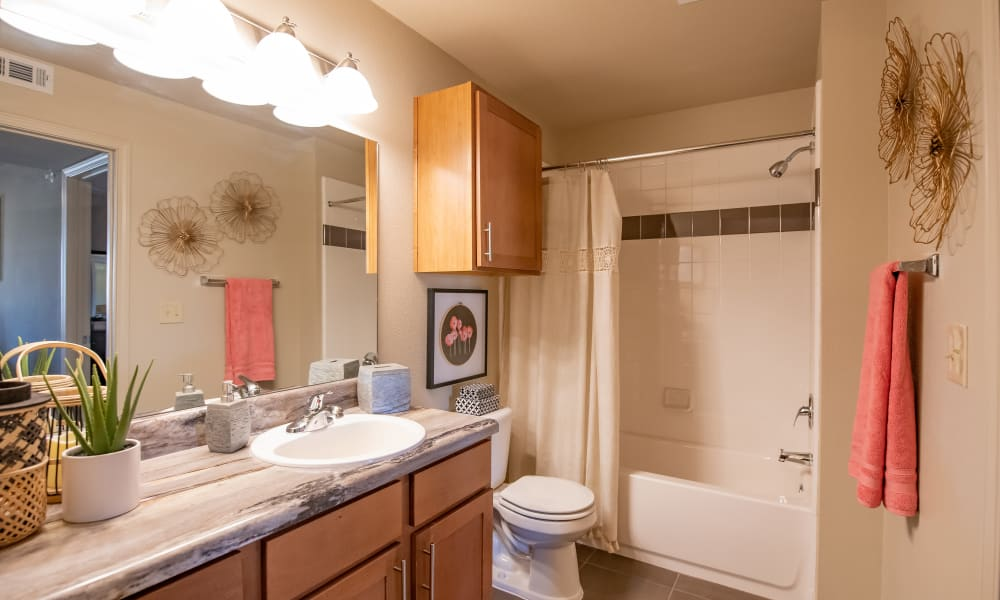 An apartment bathroom at Villas at Canyon Ranch in Yukon, Oklahoma