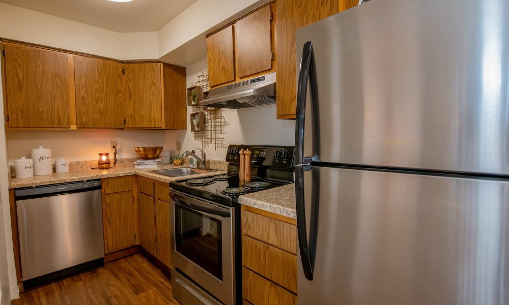 An apartment kitchen at Council Place Apartments in Oklahoma City, OK