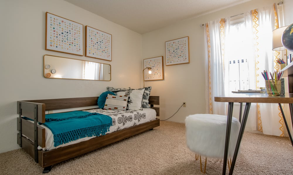 Bright bedroom at Council Place Apartments in Oklahoma City, Oklahoma