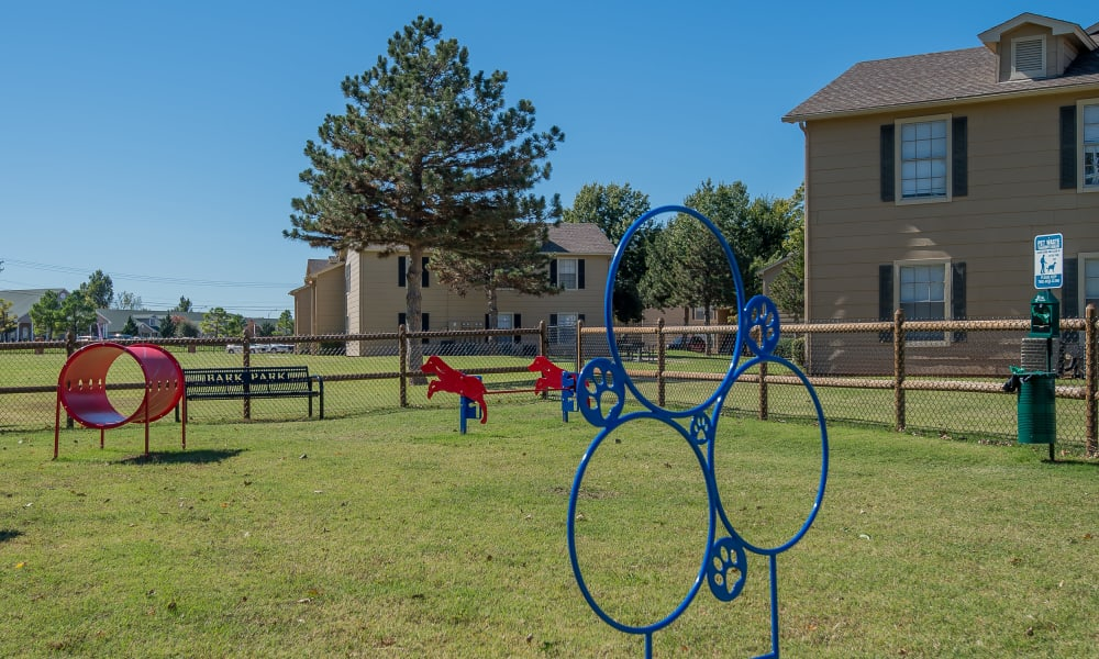 An onsite dog park at Tammaron Village Apartments in Oklahoma City, OK