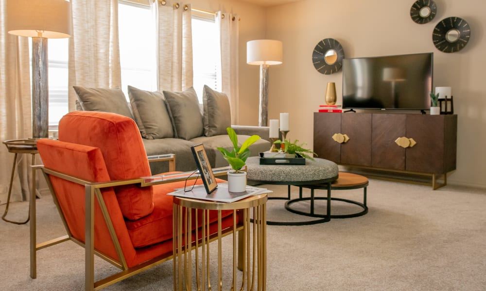 Beautiful living room at Icon at Norman in Norman, Oklahoma