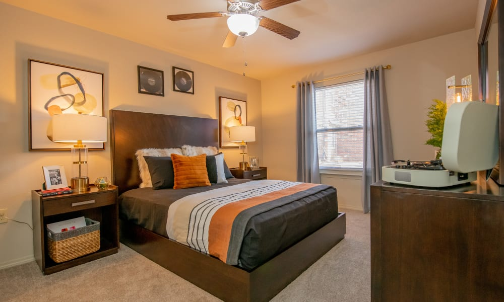 Cozy and spacious bedroom at Icon at Norman in Norman, Oklahoma