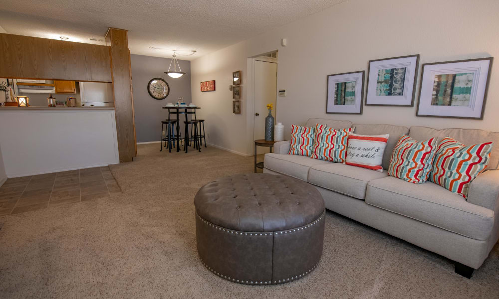 A large apartment living room at Tammaron Village Apartments in Oklahoma City, OK