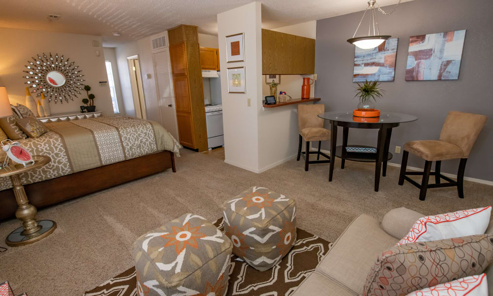 An apartment living room at Tammaron Village Apartments in Oklahoma City, OK