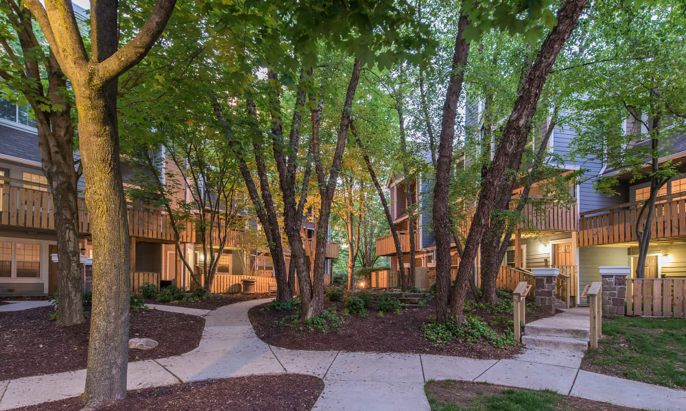 Community courtyard at Timberlawn Crescent in North Bethesda, Maryland