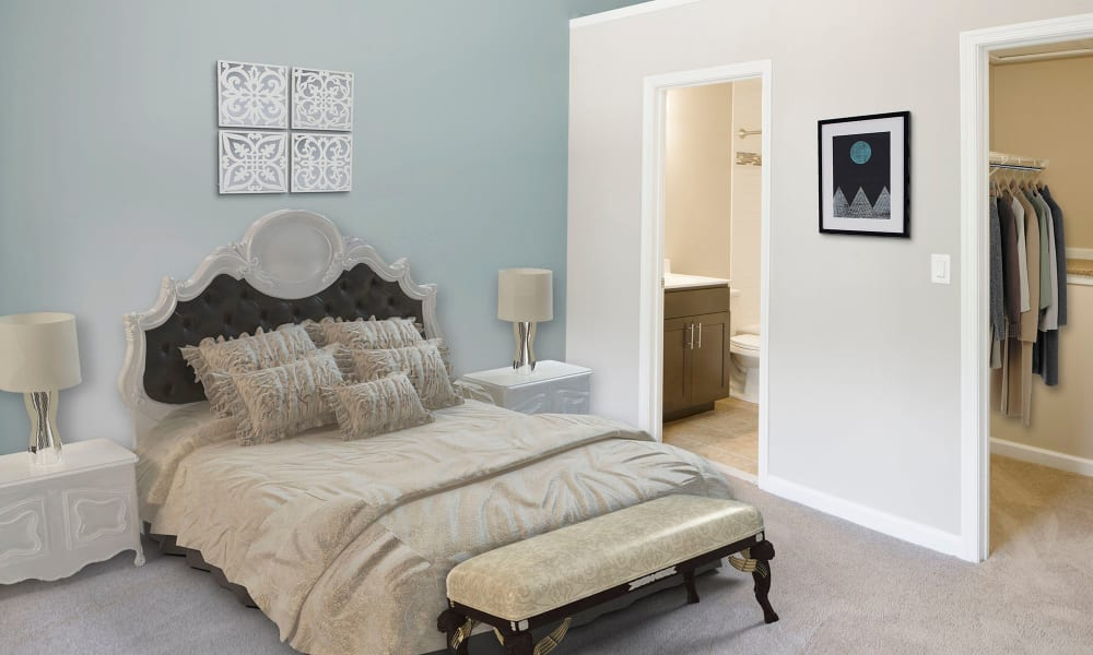 A furnished apartment bedroom at Timberlawn Crescent in North Bethesda, Maryland