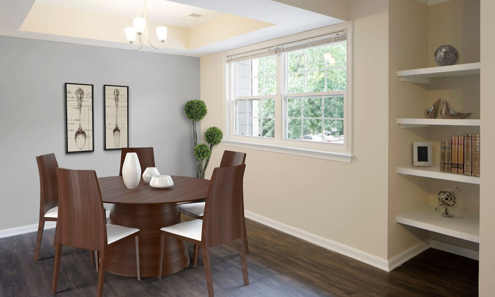 An apartment dining room at Timberlawn Crescent in North Bethesda, Maryland