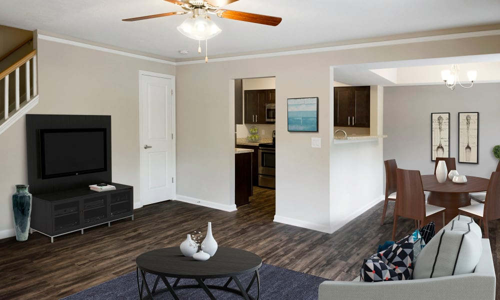 An apartment living room with hardwood flooring at Timberlawn Crescent in North Bethesda, Maryland