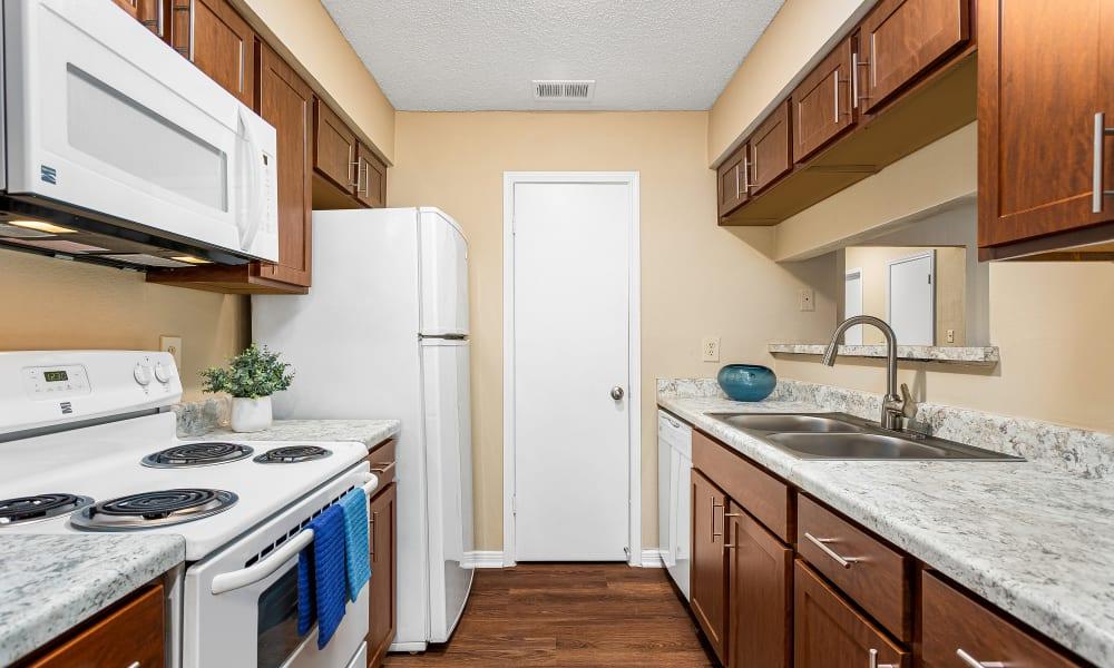 Cozy bedroom at Stoneybrook Apartments & Townhomes in San Antonio, Texas