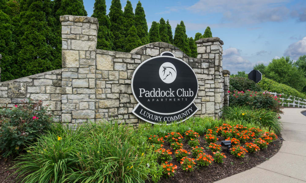 The sign in front of Paddock Club Apartments in Florence, Kentucky