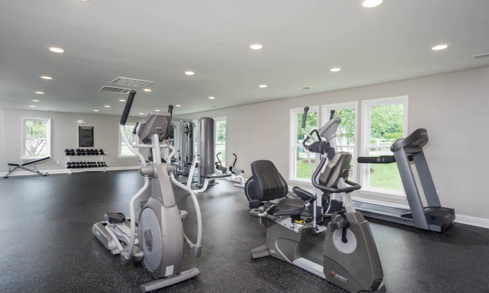 A workout room with stationary bikes at Paddock Club Apartments in Florence, Kentucky