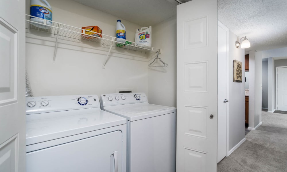 Washer and dryer units at Paddock Club Apartments in Florence, Kentucky