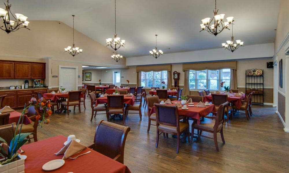 Dining area at the center of Spencer Place in Saint Peters, Missouri