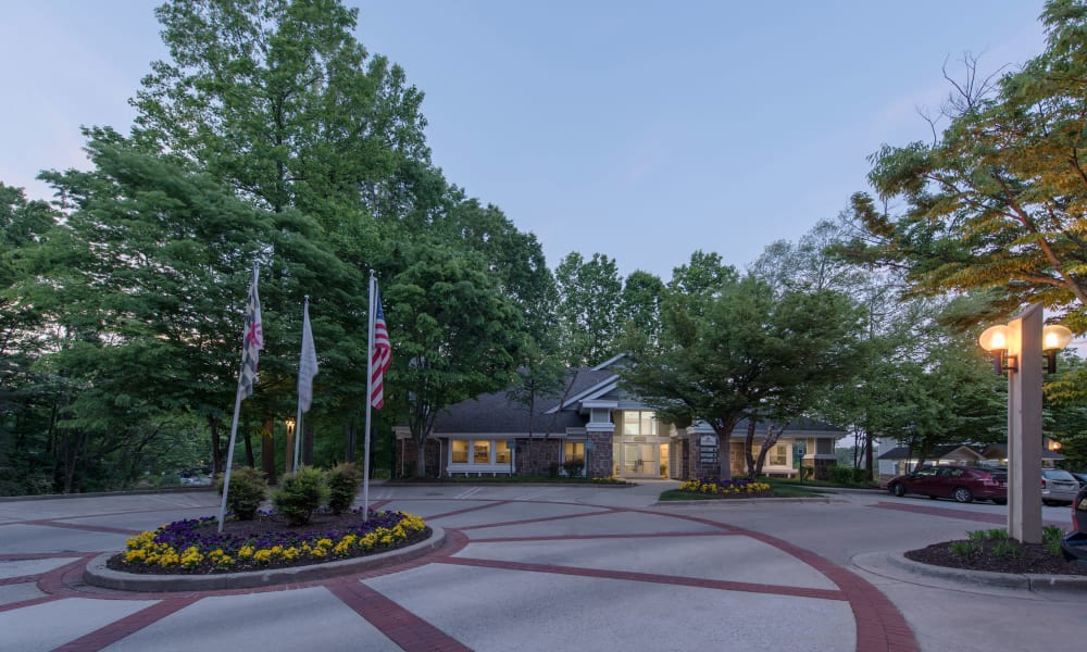 The front entrance to Timberlawn Crescent in North Bethesda, Maryland