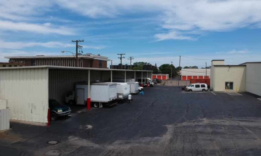 The covered outdoor storage at Michigan Storage Centers in Oak Park, Michigan