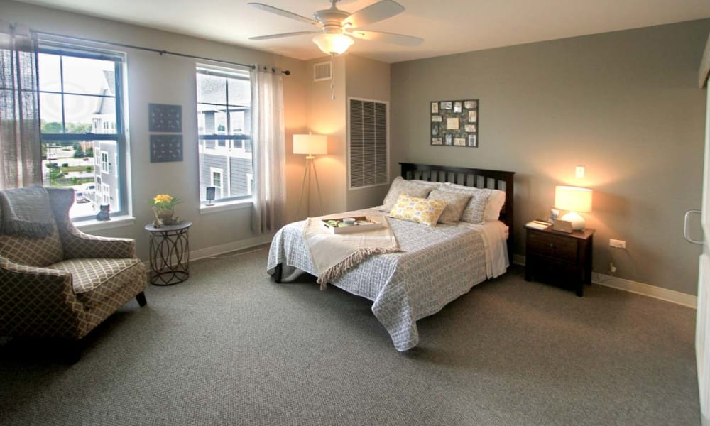 A spacious bedroom at Anthology of Wheaton in Wheaton, Illinois