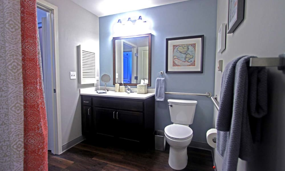 A decorated apartment bathroom at Anthology of Wheaton in Wheaton, Illinois