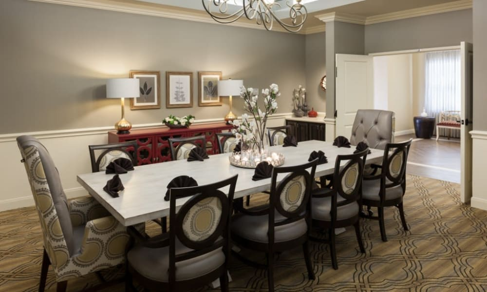 A private dining room for families at Anthology of Stonebridge Ranch in McKinney, Texas