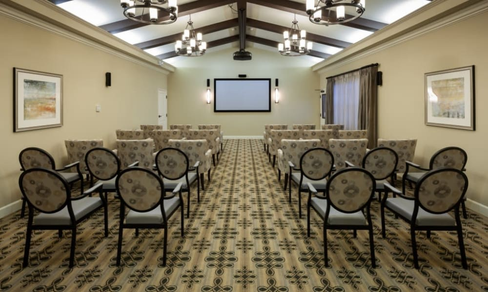 An onsite movie theater at Anthology of Stonebridge Ranch in McKinney, Texas