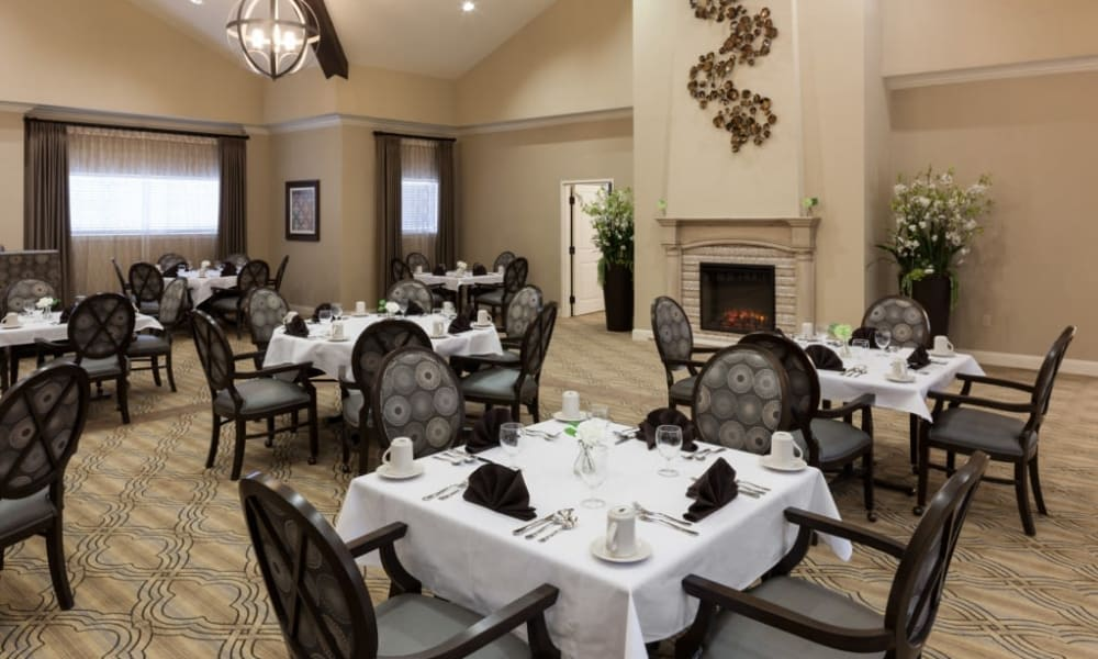A large dining room at Anthology of Stonebridge Ranch in McKinney, Texas