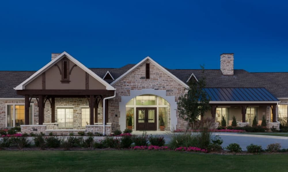 The exterior of Anthology of Stonebridge Ranch in McKinney, Texas at dusk