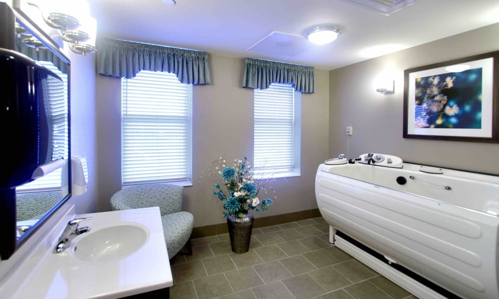An assisted living bathroom at Anthology of Grayslake in Grayslake, Illinois