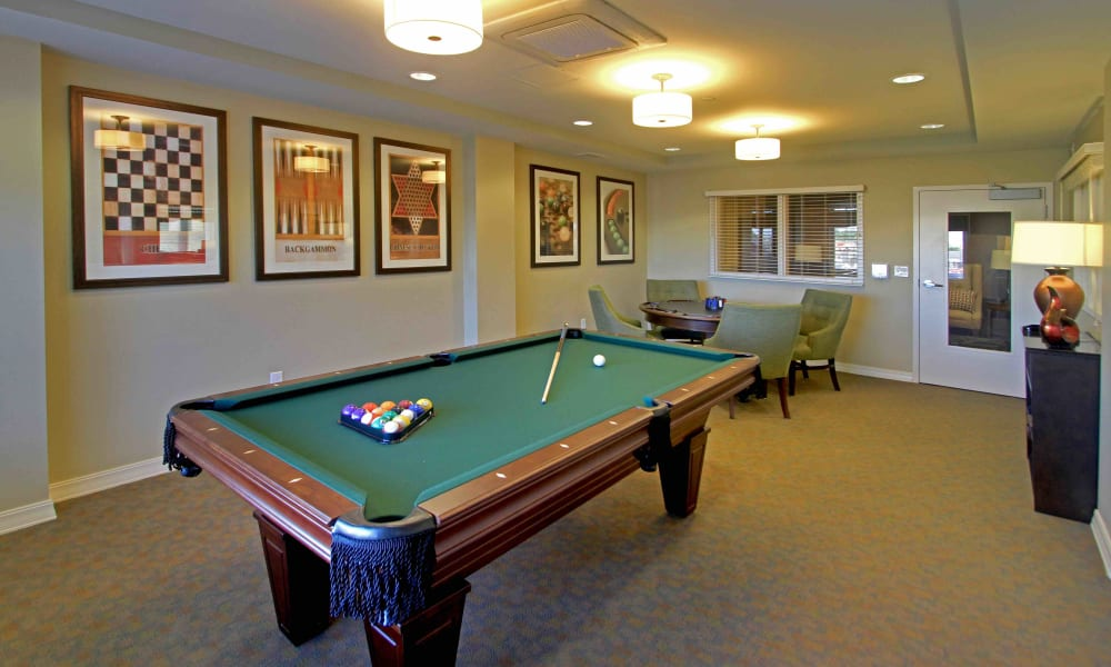 A billiards table in the game room at Anthology of Grayslake in Grayslake, Illinois