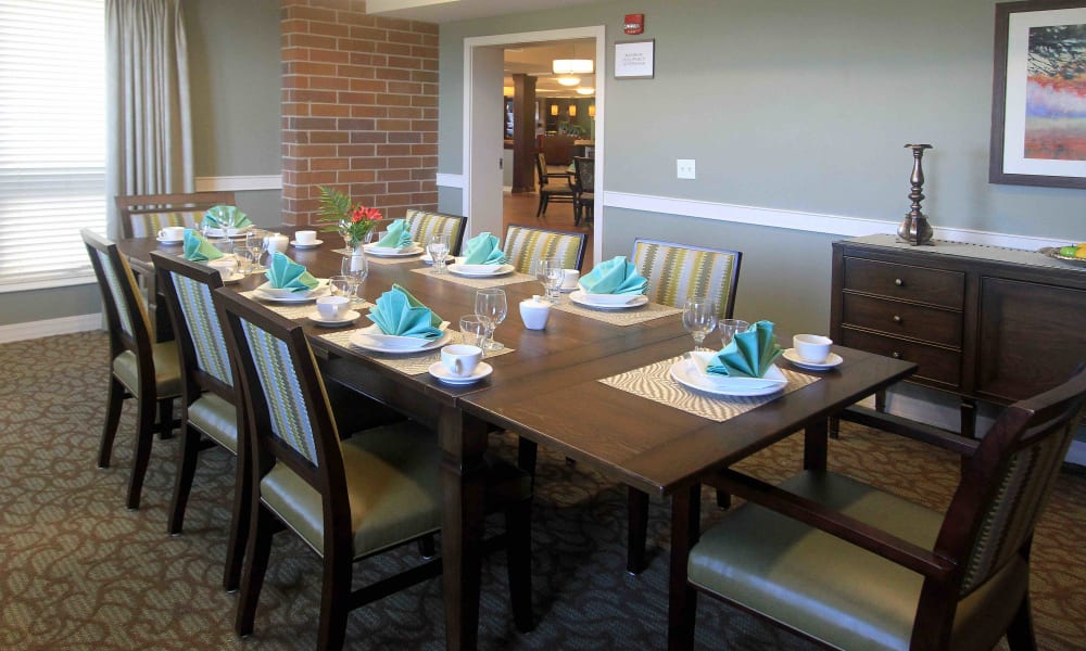 A private dining room with a set table at Anthology of Grayslake in Grayslake, Illinois