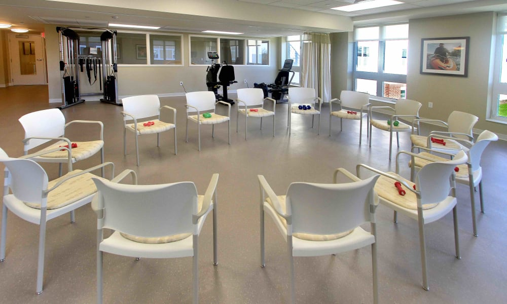A circle of chairs prepared for a resident exercise group at Anthology of Grayslake in Grayslake, Illinois