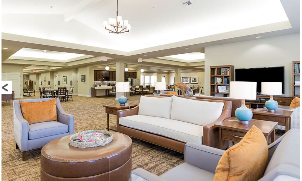 Lounge seating in the lobby for residents at Anthology of Denton in Denton, Texas