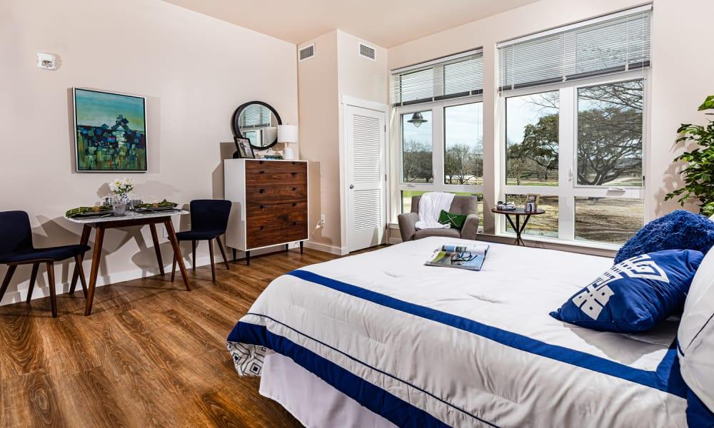 Spacious resident bedroom at Merrill Gardens at Columbia in Columbia, South Carolina.