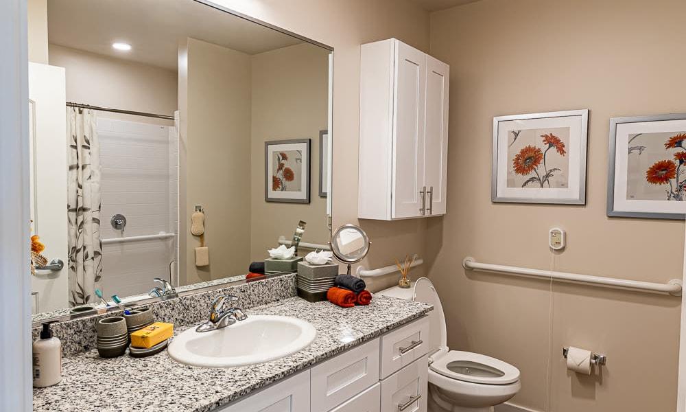 Resident bathroom at Merrill Gardens at Columbia in Columbia, South Carolina.
