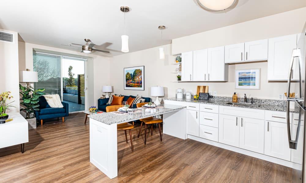Resident kitchen at Merrill Gardens at Columbia in Columbia, South Carolina.