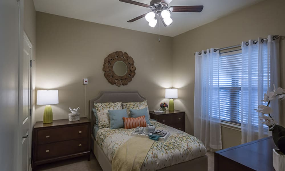 Resident bedroom at Anthology of Plano in Plano, Texas.