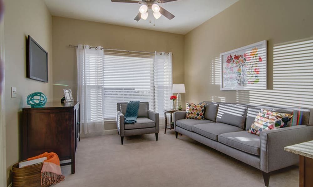 Spacious resident living room at Anthology of Plano in Plano, Texas.