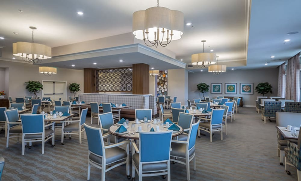 Spacious resident dining room at Anthology of Plano in Plano, Texas