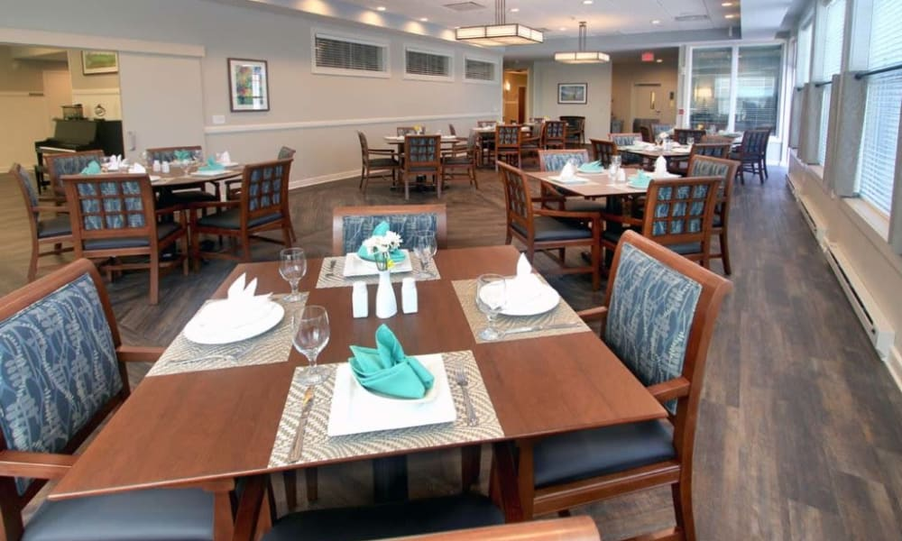 Resident dining room at Anthology of Wheaton in Wheaton, Illinois.