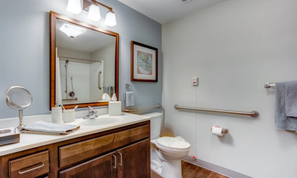 Resident bathroom at Anthology of Wheaton in Wheaton, Illinois