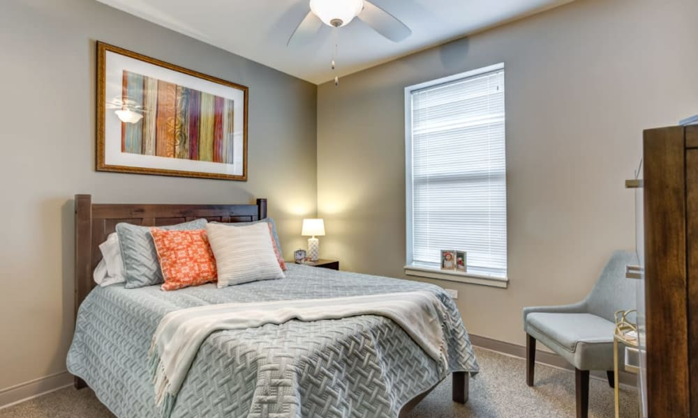 Resident bedroom at Anthology of Wheaton in Wheaton, Illinois
