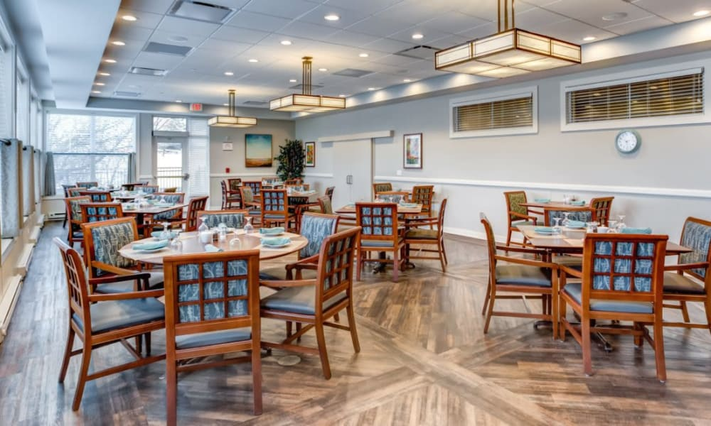 Spacious resident dining room at Anthology of Wheaton in Wheaton, Illinois