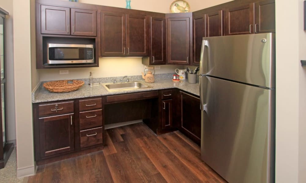 Resident kitchen at Anthology of Wheaton in Wheaton, Illinois