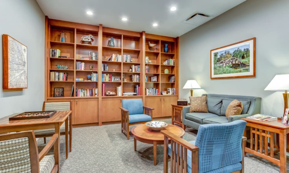 Library at Anthology of Wheaton in Wheaton, Illinois.